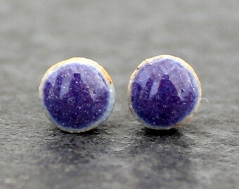 Purple glossy stud earrings, sterling silver and handmade ceramic