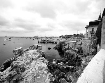 The waterfront on a cloudy afternoon in Cascais, Portugal