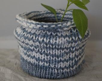 100% Bamboo Knitted Planter - Indigo Dye