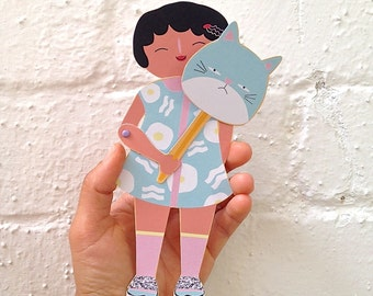 Moveable Paper Puppet   Kawaii   PeekABoo