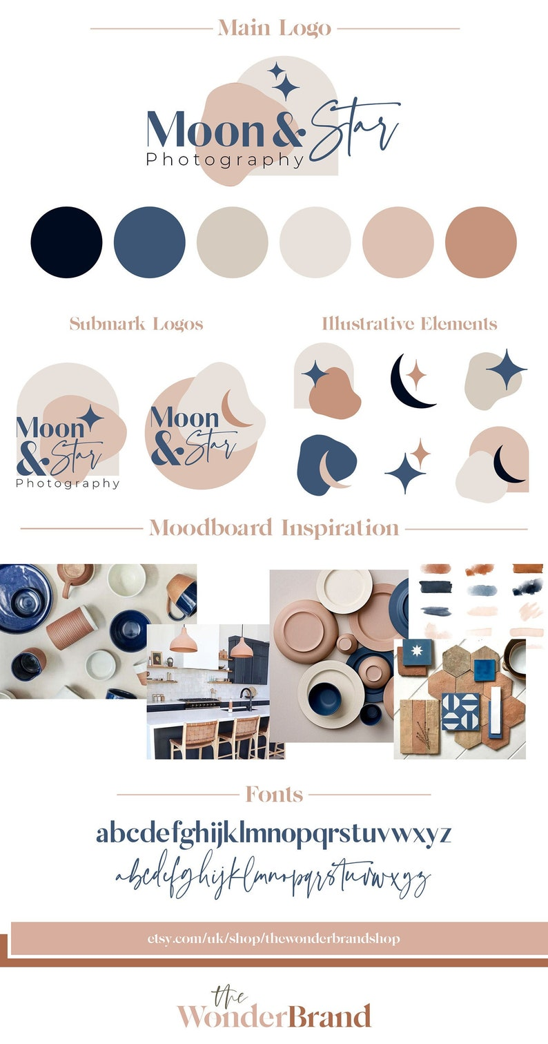 Moon & Star Boho Branding Package Business Logo Design image 0