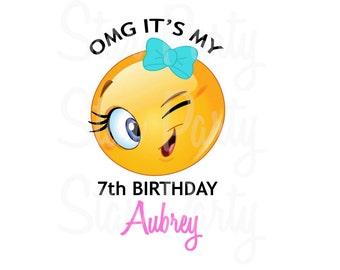 Personalized Emoji Emoticon Winky Party Birthday T Shirt Printable Iron On Transfer Sticker Custom