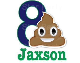 Personalized Emoji Emoticon Party Birthday Poop T Shirt Printable Iron On Transfer Sticker Custom