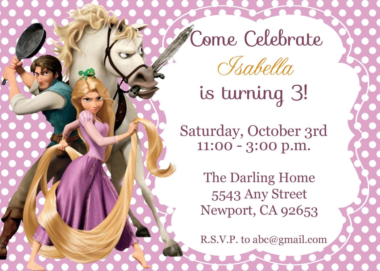 Tangled Rapunzel Invitation Disney Princess Kid\'s   Etsy