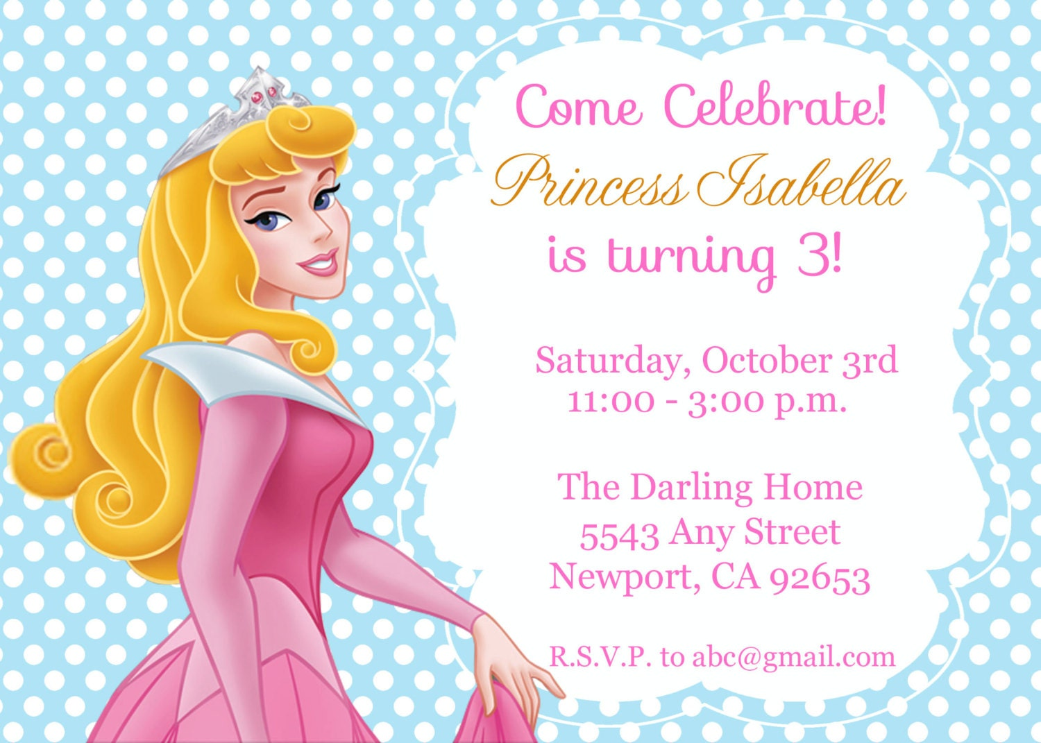 Princess Aurora Sleeping Beauty Invitation Kids Birthday