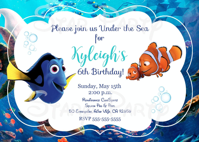 Finding Dory Dory Nemo Birthday Invitation Kid\'s   Etsy