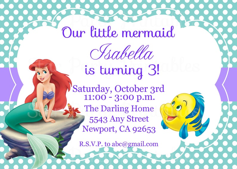 The Little Mermaid Invitation Ariel Disney Princess