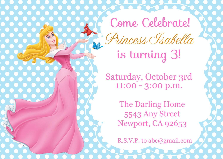 Princess Aurora Sleeping Beauty Invitation Kid\'s Birthday   Etsy