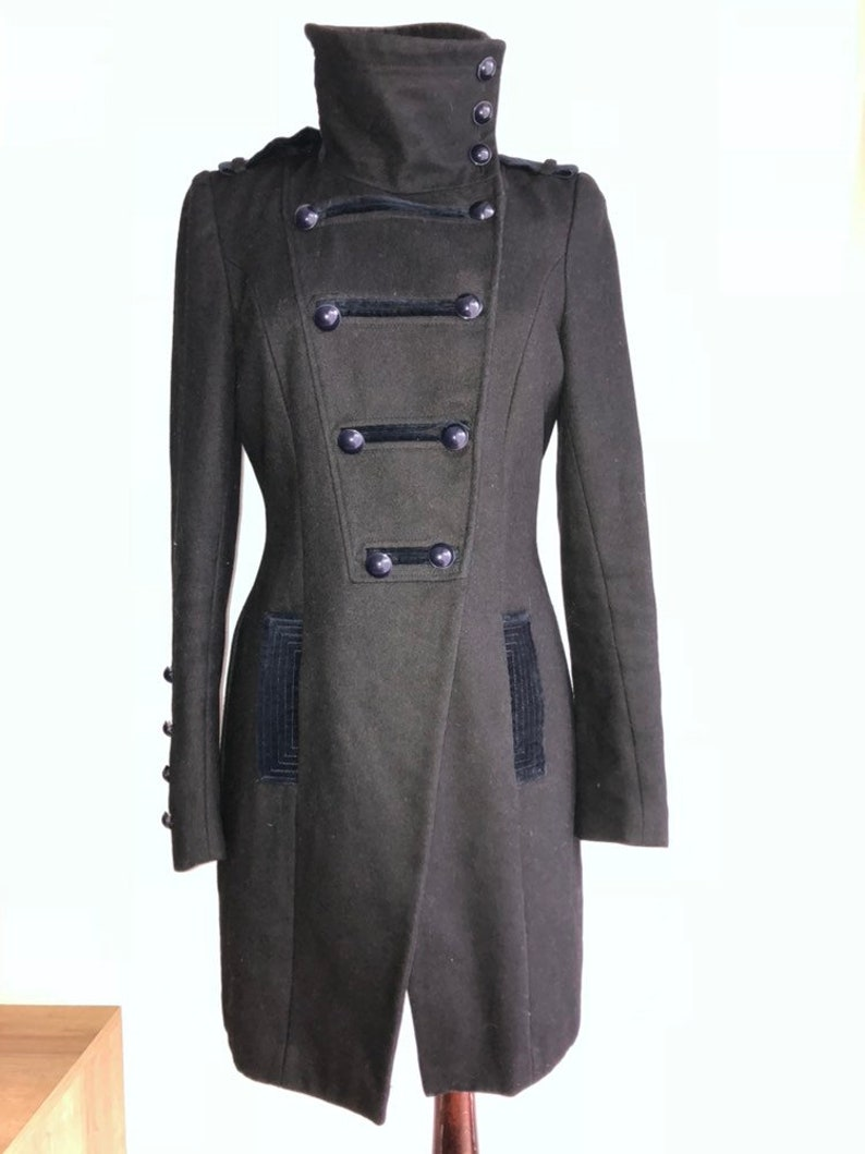 Military coat  women jacket  grey coat  riding hunting outdoor coutryside coat  size SM