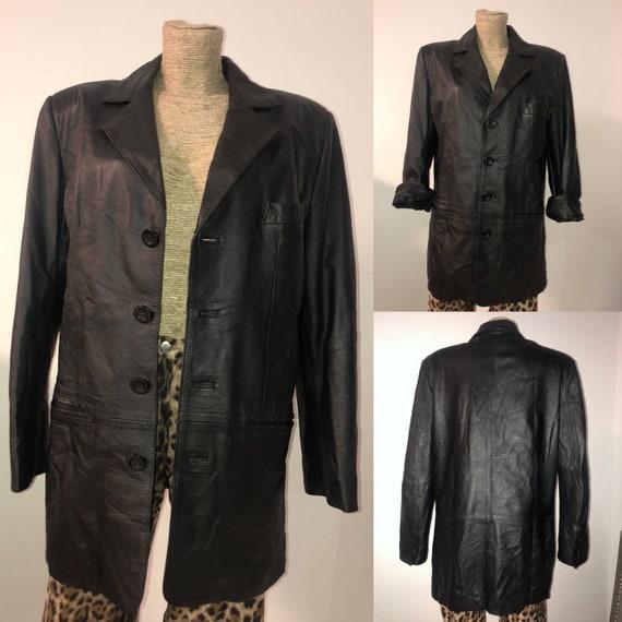 Vintage black leather jacket /oversized leather bl