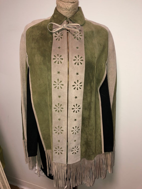 Vintage Mexican leather cape coat / colour block l
