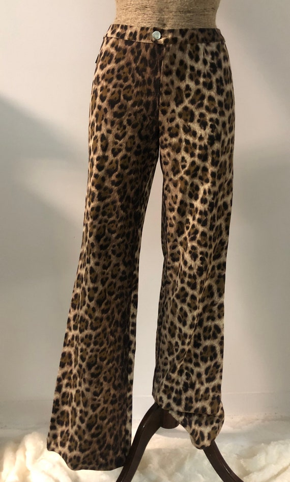 Vintage 90s 00s flared pants leopard trousers Mosc