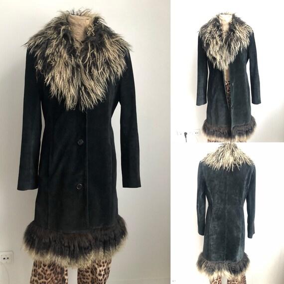 Black suede Afghan coat / lama fur and suede Afgha