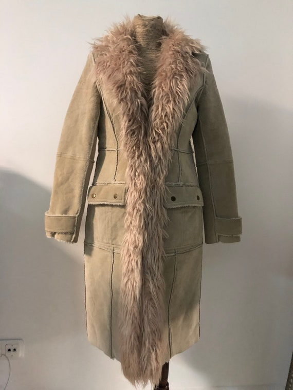 Vintage Afghan coat / suede leather and faux fur A