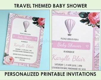 World maps baby shower invitations airplanes travel theme etsy personalized printable baby shower invitation custom travel theme invites floral vintage maps design invitations digital pdf filmwisefo