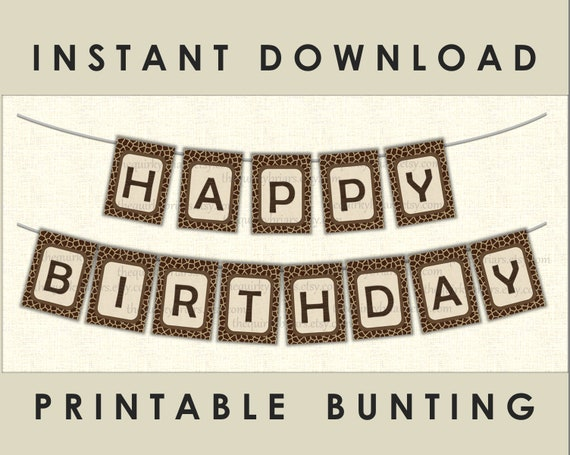 Giraffe Theme Happy Birthday Bunting Animal Print Africa