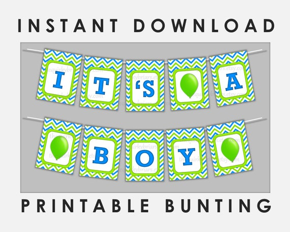 graphic relating to Free Printable Chevron Banner Minecraft identify Blue And Environmentally friendly Its A Boy Banner / Boy or girl Shower Decor