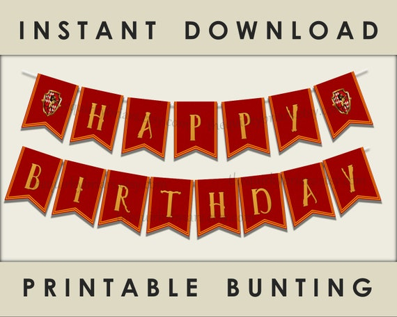 wizard theme party banner printable happy birthday banner red