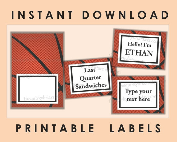 Basketball Theme Buffet Food Label Place Cards Sports Party Theme