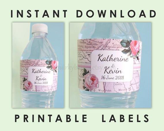 Travel Theme Water Bottle Labels, Custom Labels, Wanderlust
