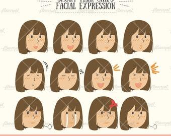 Cheveux Courts Noir Fille Visage Expression Vector Clipart Svg