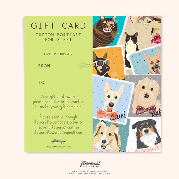 Gift Certificate Card For Three Pet Portrait Custom