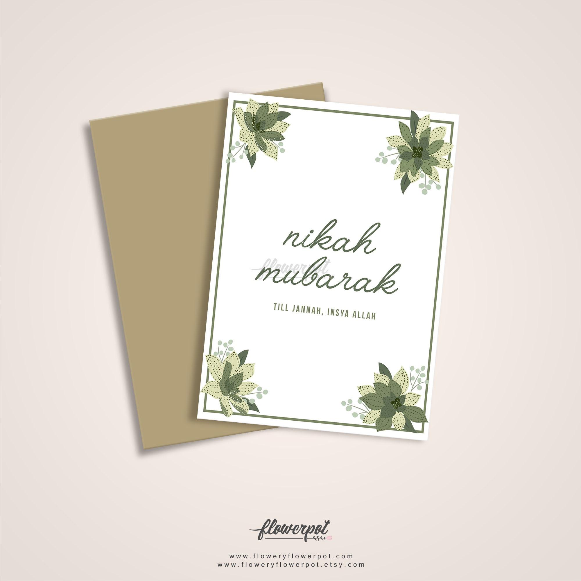 Nikah Mubarak Greeting Card Digital Printable Muslim Walima Etsy