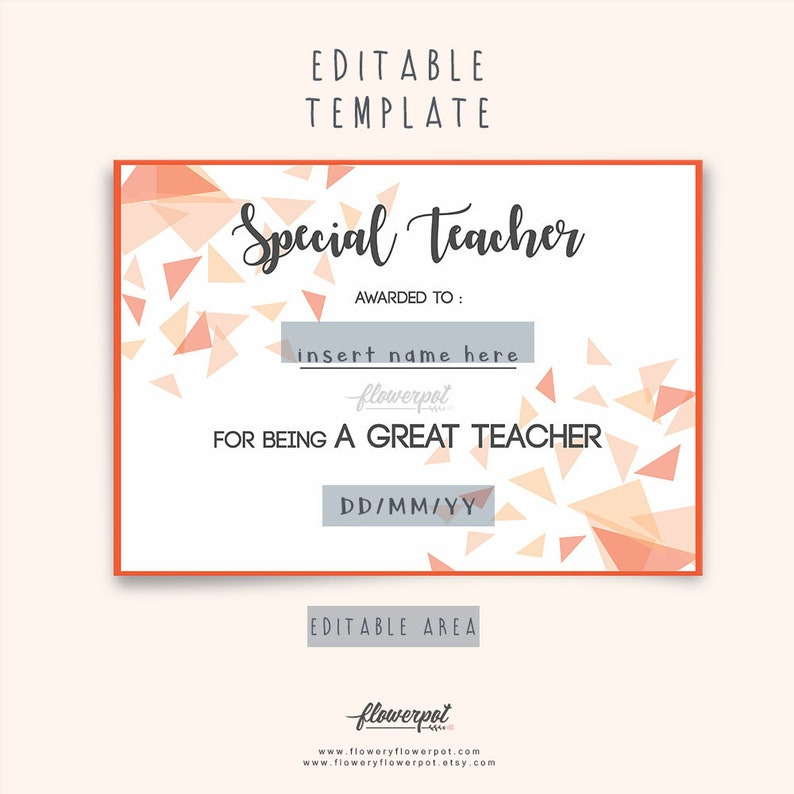 Special Teacher Award Certificate Template Editable In Word Etsy
