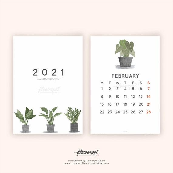 Calendrier Fetes Des Plantes 2021 Tropical Plants Illustration Calendar 2021 Calendrier | Etsy