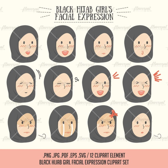 Muslima Avec Black Hijab Fille Expression Vector Clipart Etsy