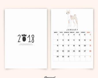 Dog Illustration Calendar 2018, Printable Calendar 2018 with Various Dog Breeds, Monthly Calendar Planner 2018 PDF, Wall Art Calendar