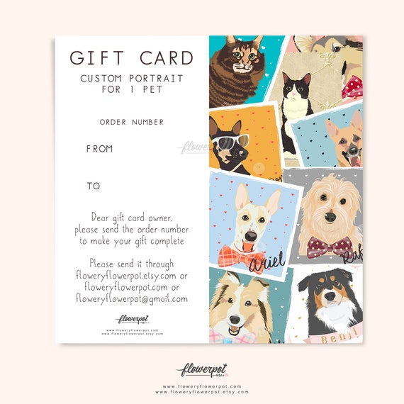 Gift Certificate Card For One Pet Portrait Custom