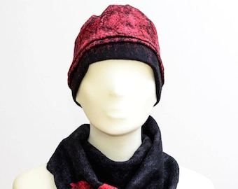 Felted Wool Hat, Wool Hat, Winter Hat, Warm Hat, Wool Hat, Red and Black Hat, Winter Accessories, Gift for Her, Christmas Gift