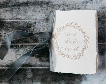 Wedding Vow Book /Handmade paper / Silk Ribbon / From this Day Forward / Bridal Shower Gift / Wedding Gift / Vow Booklet