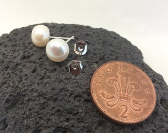 Large freshwater cultured 925 sterling silver stud pearl earrings