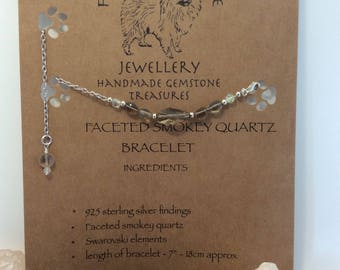 Delicate fluffysmudge faceted smokey quartz and swarovski crystal elements with 925 sterling silver bracelet