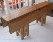 Large Handmade Rustic Drop Leaf Kitchen Dining Table - 4 gate legs 015