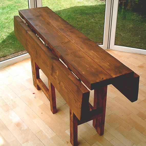 Landscape Lighting Around Pool, New Hand Made Rustic Drop Leaf Kitchen Dining Table In Thick Etsy
