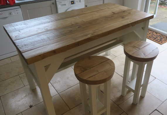 Peachy New Handmade Rustic Kitchen Island With 2 Stools 091 Pabps2019 Chair Design Images Pabps2019Com