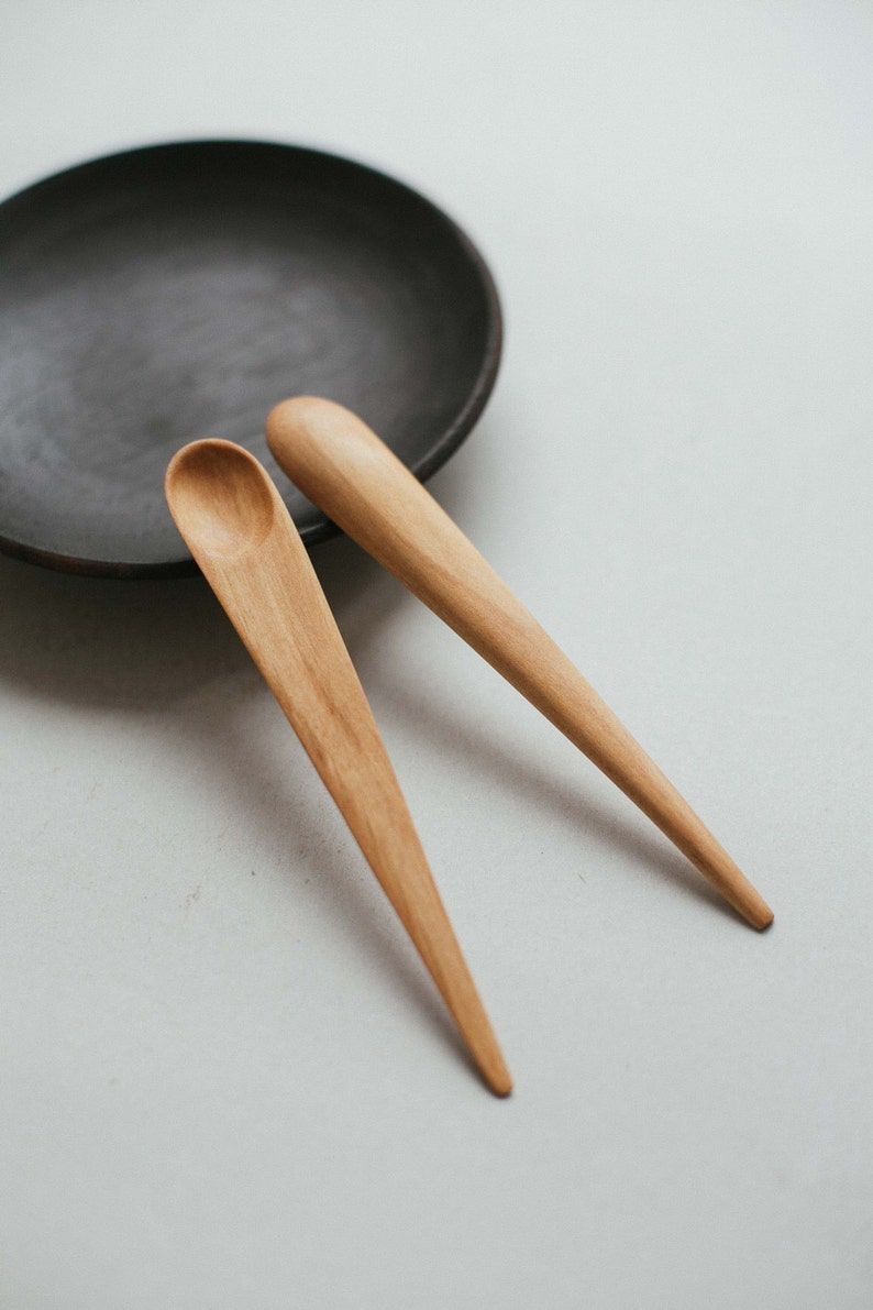 Hand Carved Wooden Small Spoon Japanese Serving Spoon Little Wooden Spoon Mini Spoon Natural Utensil Jam Spoon Wabi Sabi Spoon