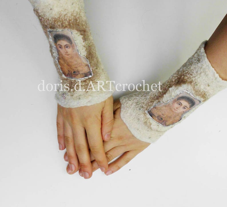 Felted ornate cuffs eads and lace wool on silk nuno felt image 0