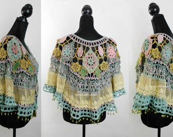 Crochet Hippie Jacket, 70s style,old lace and effektive Details, Slow fashion, Exclusive dress