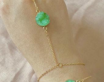 Dainty Sage Green Resin Druzy Quartz Crystal Gold Plated Hand Chain Slave Bracelet Ring Bracelet Hand Harness