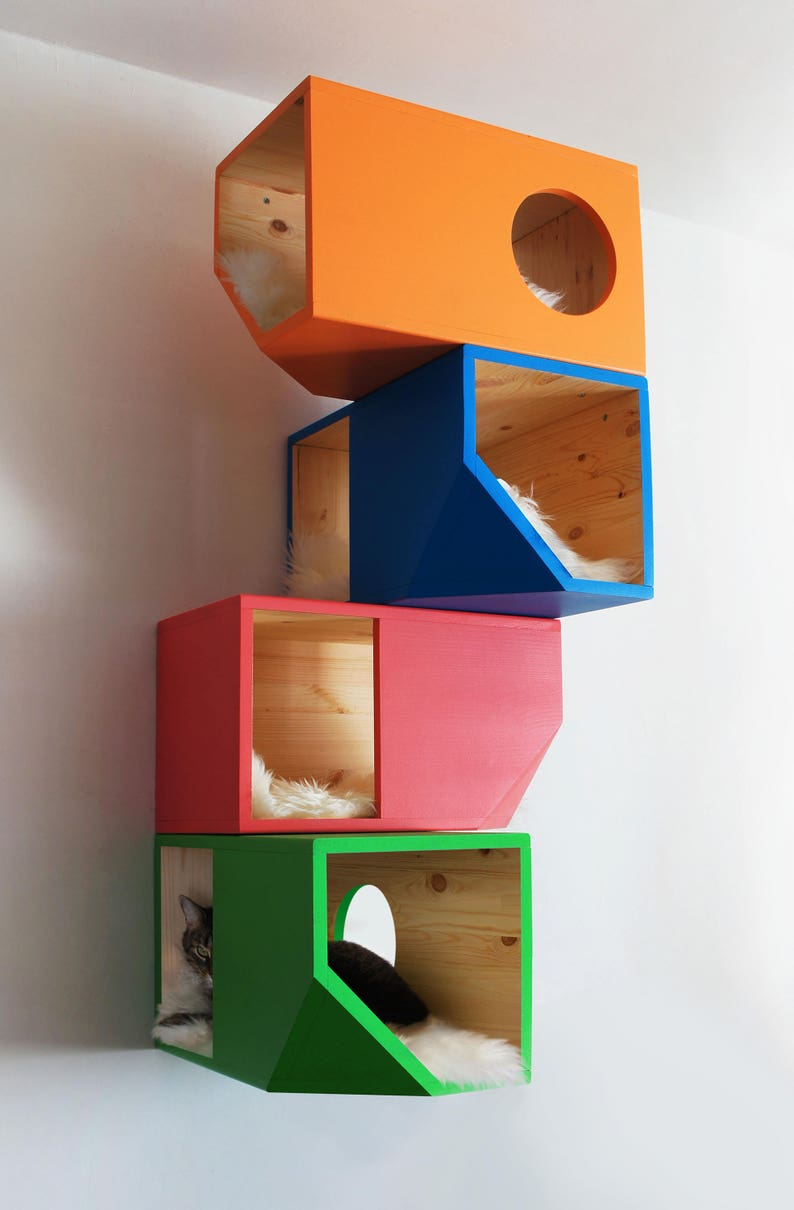Colorful Catissa Modular Cat House image 0