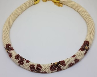 Choker necklace spiral peyote flowers