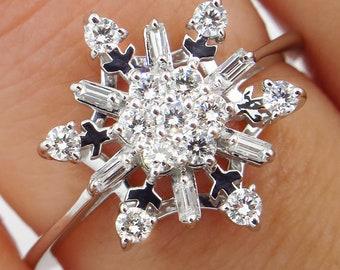 2c41f117dc2d8 Vintage diamond ring snowflake | Etsy