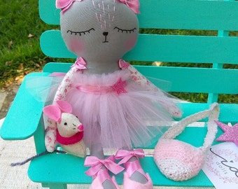 Cat ballerina whit mouse, 30 cm, 100% handmade