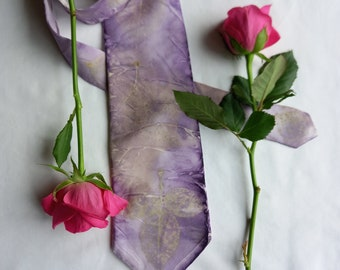 Eco Dyed 100% Silk Men's Neck Tie. Botanical Print with Rose leaves and Logwood dye. Lilac and Yellow. Unique.