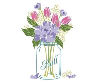 Wedding Clip Art Mason Jar Bouquet Digital Flower Wreaths Hart