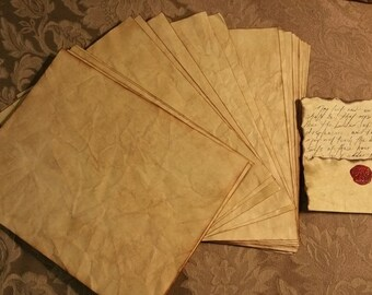 20 pages of Aged & distressed edge, GOLD parchment paper Book of shadows/BOS/spell book/journal/writing vintage tea stained READY now.